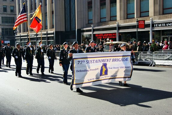 U.S. Army Reserve Soldiers of the 77th Sustainment Brigade march in the New York City Veterans Day Parade Nov. 11, 2017, commemorating the 100th anniversary of World War I.