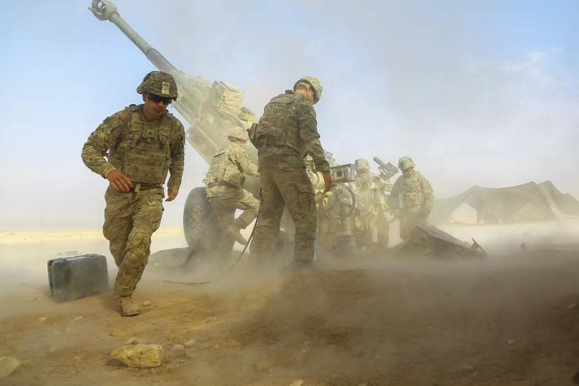 U.S. Army soldiers assigned to 5-25 Field Artillery, Charlie Battery, 2nd Platoon fires a Howitzer M-777 A2 provides fire support for Iraqi Security Forces near Al Qaim, Iraq, Nov. 07,  2017. The strikes were conducted as part of Operation Inherent Resolve. Combine Joint Task Force-OIR is the global Coalition to defeat ISIS in Iraq and Syria. (U.S. Army photo by Spc. William Gibson)