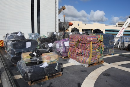Seized drugs stacked aboard U.S. Coast Guard Cutter Spencer.
