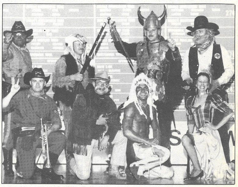 "A 1989 group photo shows an early version of the 341st Missile Wing's mountain man at Strategic Air Command's Olympic Arena Missile Combat Competition, Vandenberg Air Force Base, Calif. The original caption reads: ""Mascots from 1989 Olympic Arena competition include (left to right) Super Troopers, 90th Strategic Missile Wing, F.E. Warren, Wyo.; High Plains Warriors, 341st SMW, Malmstrom AFB, Mont.; Roughriders, 91st SMW, Minot AFB, N.D.; War Chiefs, 351st SMW, Whiteman AFB, Mo.; Warriors of the North, 321st SMW, Grand Forks AFB, N.D. and the Black Hills Bandits, 44th SMW, Ellsworth AFB, S.D."" (Photo courtesy of the Malmstrom Air Force Base Museum)"
