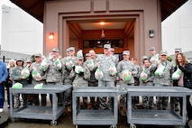 WADS members pose for a photo during the 8th annual Operation Turkey Drop, Nov. 16, 2017.  Operation Turkey Drop helps ease financial burdens of holiday expenses for Airmen and Soldiers on Joint Base Lewis-McChord and Camp Murray. The event is made possible by the Association of the United States Army, the Air Force Association and Pierce Military and Business Alliance and dozens of local businesses and organizations. (U.S. Air National Guard photo by Capt. Kimberly D. Burke)