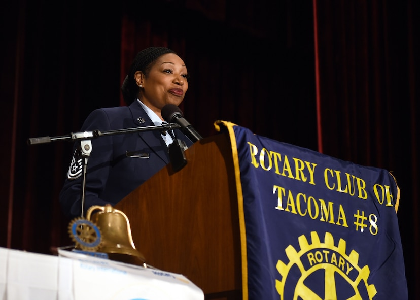 Master Sgt. Monique DuBose, 62nd Airlift Wing Office of the Inspector General superintendent, speaks to members of the Tacoma Rotary Club, fellow service members and veterans, and friends and family after being named the 39th recipient of the John H. Anderson Military Citizen of the Year Award at a luncheon, Nov. 9, 2017 in downtown Tacoma.