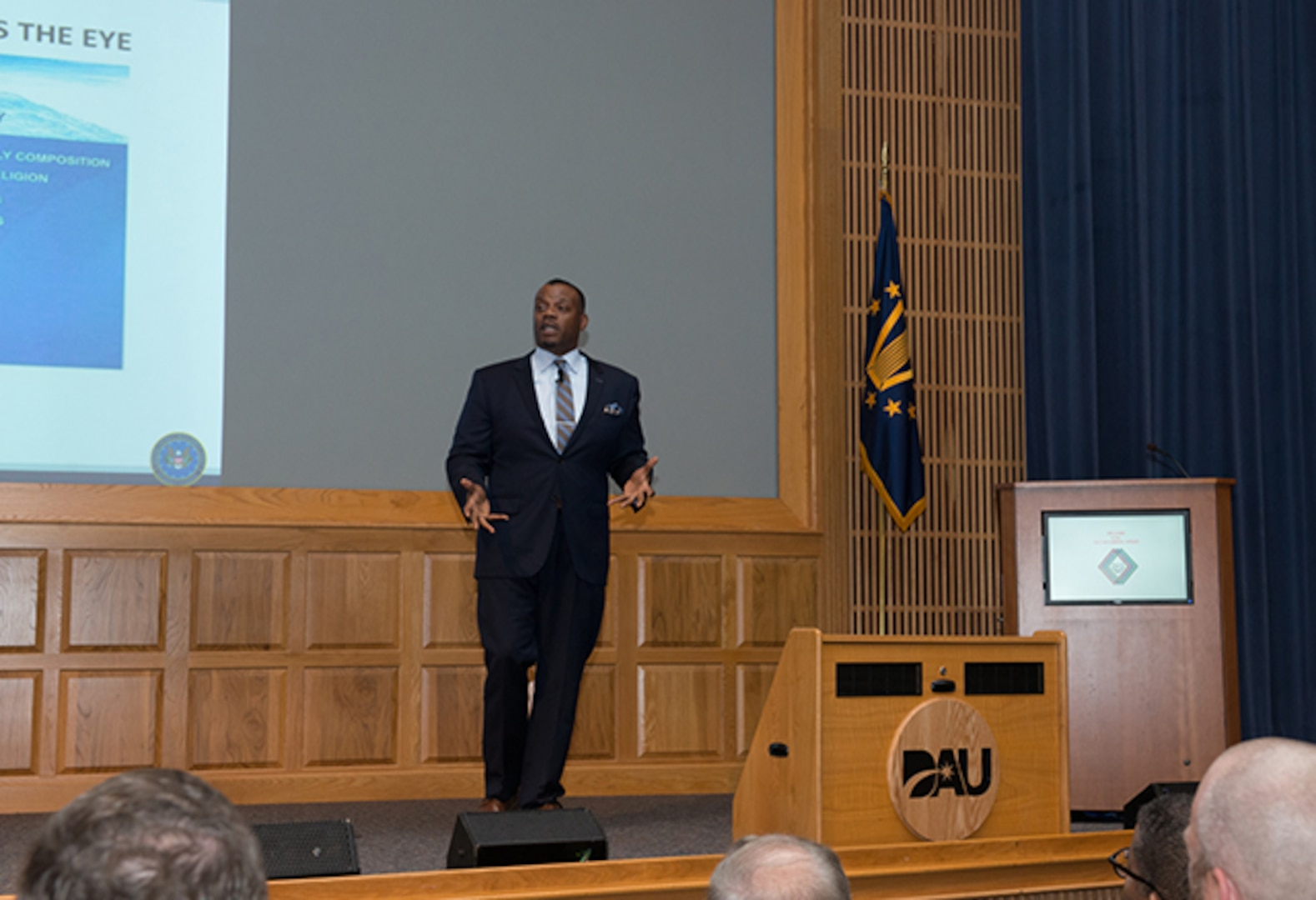 George P. Braxton, DCMA's special advisor for diversity and inclusion, gave a presentation to DAU faculty and staff.