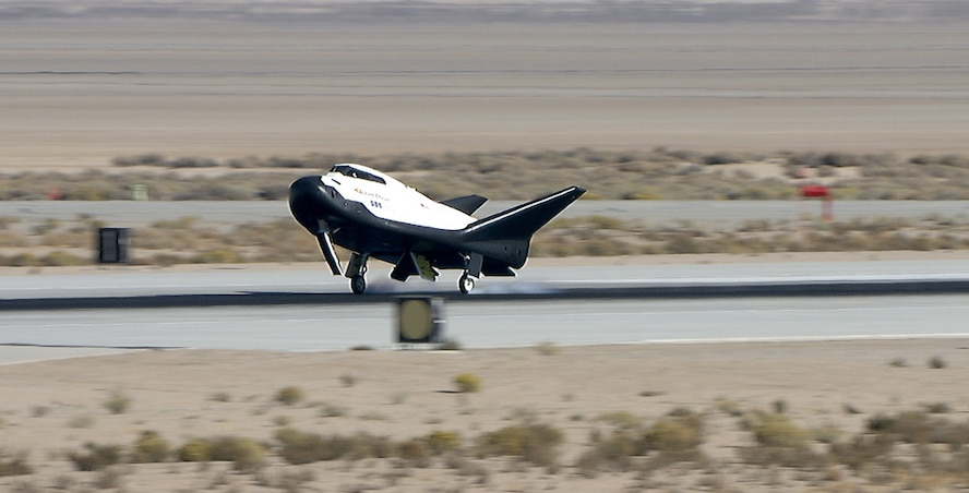 Sierra Nevada Corp's Dream Chaser lands on Edwards Air Force Base in California. The spacecraft went through preparations for flight at NASA's Armstrong Flight Research Center.  Credits: NASA / Carla Thomas