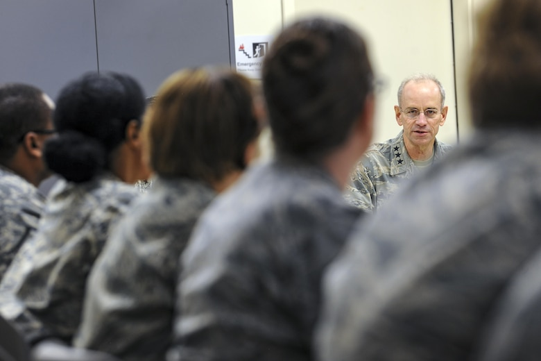 Lt. Gen. Mark Ediger, Surgeon General of the Air Force (AF/SG) speaks to members of the 23d Medical Group (MDG), Nov.14, 2017, at Moody Air Force Base, Ga. The AF/SG visited Moody to get a better understanding of the 23d MDG's mission. (U.S. Air Force photo by Airman Eugene Oliver)
