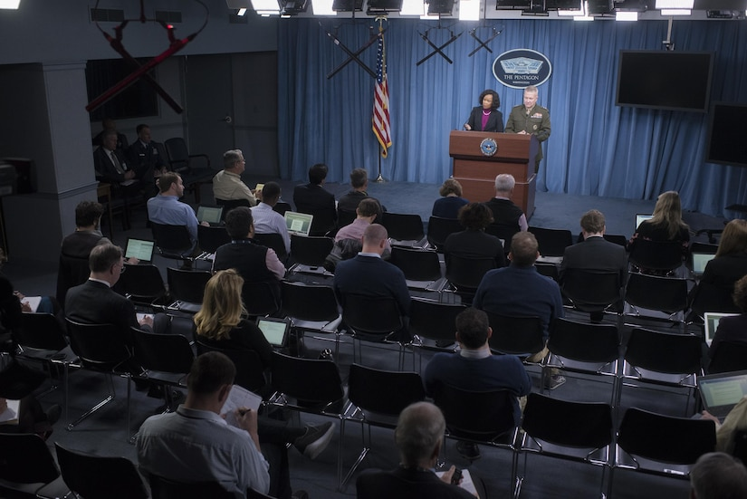 Dana W. White, the assistant to the secretary of defense for public affairs, and Marine Corps Lt. Gen. Kenneth F. McKenzie, the Joint Staff director, brief reporters at the Pentagon, Nov. 16, 2017. DoD photo by Navy Petty Officer 1st Class Dominique A. Pineiro