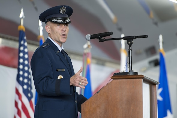 U.S. Air Force Lt.  Gen. Steven Kwast, commander of Air Education and Training Command, officially addresses the men and women of the First Command for the first time as their commander during a change of command ceremony Nov. 16, 2017, at Joint Base San Antonio-Randolph, Texas. Kwast, a U.S. Air Force Academy graduate, will pass command of AETC to Lt. Gen. Brad Webb July 26, 2019. (U.S. Air Force photo by Sean Worrell)