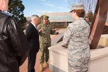 Defense Secretary Jim Mattis talks with military leaders.