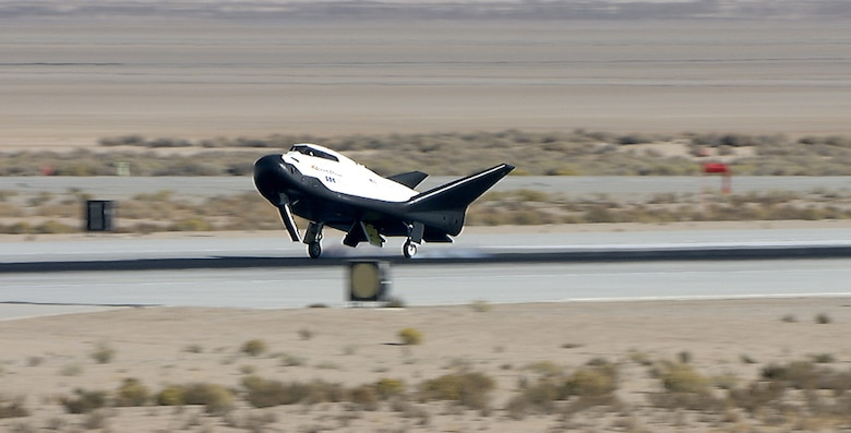 Sierra Nevada Corp's Dream Chaser lands on Edwards Air Force Base in California. The spacecraft went through preparations for flight at NASA's Armstrong Flight Research Center.