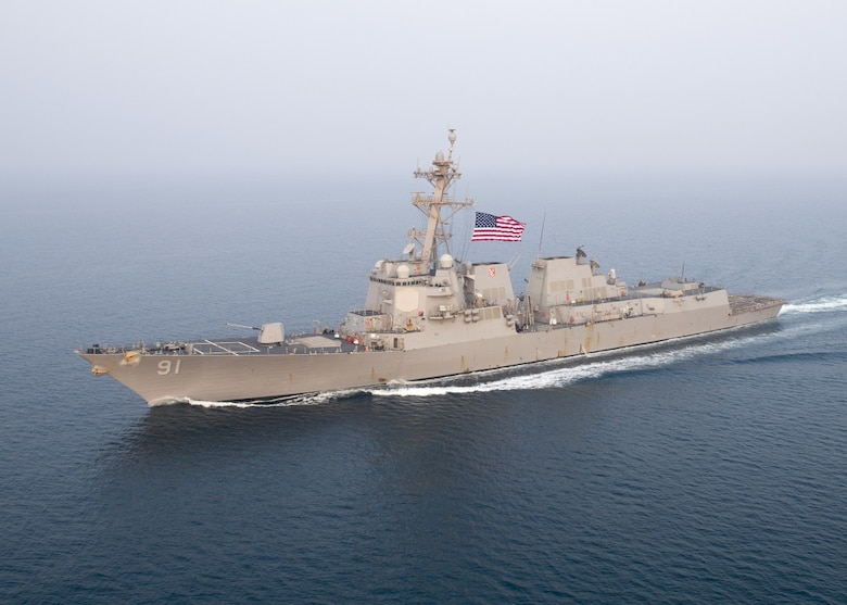 U.S. 5TH FLEET AREA OF OPERATIONS (Sept. 16, 2017) The Arleigh Burke-class guided-missile destroyer USS Pinckney (DDG 91) transits the U.S. 5th Fleet area of operations in support of maritime security operations designed to reassure allies and partners, and preserve the freedom of navigation and the free flow of commerce in the region.