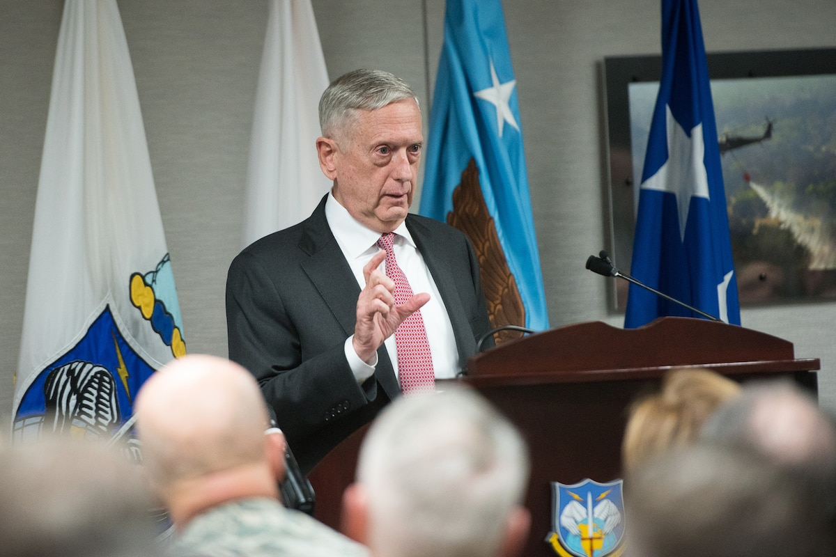 Defense Secretary Jim Mattis speaks at U.S. Northern Command.