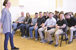 Nine U.S. Soldiers from 82nd Brigade Engineer Battalion, 2nd Armored Brigade Combat Team, 1st Infantry Division, celebrate European Language Day with Polish students at I Liceum Ogólnokształcące, Bolesławiec, Poland, Oct. 16. The Soldiers visited the class as guests so the students may practice English with native speakers. The Soldiers are temporarily stationed at Bolesławiec Camp, Poland, as the 82nd BEB, 2nd 2ABCT, 1st Inf. Div., is currently in Europe to support Atlantic Resolve. Atlantic Resolve is a U.S. endeavor to fulfill NATO commitments by rotating U.S. -based units throughout the European theater and training with NATO Allies and partners.