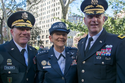 (Left) Army Reserve Maj. Gen. Mark W. Palzer, commander of the 79th Theater Sustainment Command; (Center) Air Force Gen. Ellen M. Pawlikowski, commander of the Air Force Materiel Command; and (Right) Army Reserve Brig. Gen. Robert S. Cooley, commander of the 353d Civil Affairs Command, attended the opening wreath laying ceremony of the NYC Veterans Day Parade, November 11, 2017. (U.S. Army Reserve Photo by Maj. Addie Leonhardt, 80th Training Command)