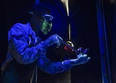 U.S. Air Force Airman 1st Class Dakota Martin, 1st Maintenance Squadron nondestructive inspection apprentice, inspects cracks under a black light at Joint Base Langley-Eustis, Va., Nov. 15, 2017.