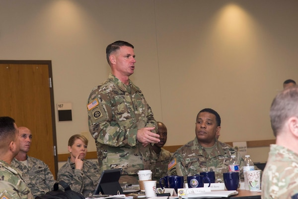 U.S. Army Maj. Gen. Malcolm B. Frost, commander of the U.S. Army Center for Initial Military Training, speaks during the Council on Recruit Basic Training Nov. 8, 2017 at Joint Base San Antonio-Lackland, Texas. The purpose of CORBT is to address common issues across the joint services in recruit basic military training and technical training with the goal of sharing ideas, lessons learned and procedures to improve entry-level enlisted training programs.