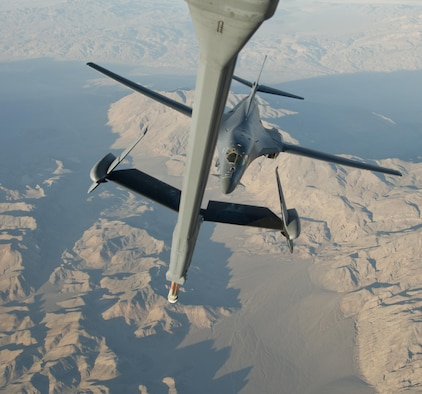 A B-1B Lancer from Ellsworth Air Force Base, S.D., approaches a Travis AFB, Calif., KC-10 Extender during an aerial refueling training mission near Edwards AFB, Calif., Nov. 1, 2017. The B-1B was part of exercise Green Flag, which is an advanced, realistic and relevant air-to-surface training exercise that prepares joint and coalition warfighters to meet combatant commanders requirements across air, space and cyberspace. (U.S. Air Force photo by Staff Sgt. Nicole Leidholm)