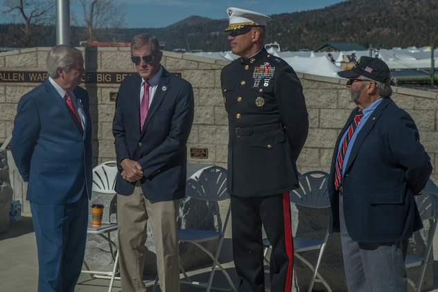 Mayor Bill Jahn of Big Bear Lake, U.S. Representative Paul Cook, Maj. Gen. William F. Mullen III, Commanding General, Marine Corps Air Ground Combat Center and Russell Lewis, chaplain, American Legion Post 583, stand as the distinguished guests at a Veterans Day event at Big Bear Lake, Calif., Nov. 11, 2017. Each of them are decorated veterans of past conflicts. (U.S. Marine Corps photo by Lance Cpl. Preston L. Morris)