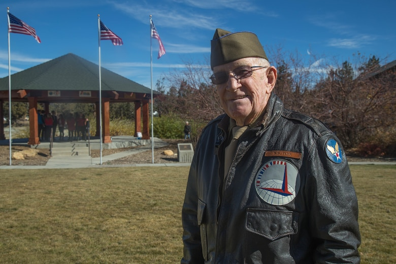 R.B. Funk, a resident of Big Bear Lake and a U.S. Army Air Force veteran, stands at Veterans Park in Big Bear Lake, Calif., Nov. 11, 2017. Funk was one of more than 100 veterans who attended a Veterans Day ceremony hosted by the city. (U.S. Marine Corps photo by Lance Cpl. Preston L. Morris)