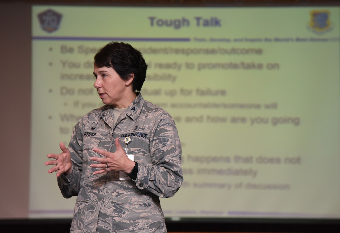 Col. Jeannine Ryder, 81st Medical Group commander, hosts an officership class during Wingman Day Nov. 16, 2017, on Keesler Air Force Base, Mississippi. Wingman Day consisted of Keesler Airmen participating in unit-wide Comprehensive Airman Fitness courses which focused on resiliency and teambuilding initiatives across the base. (U.S. Air Force photo by Kemberly Groue)