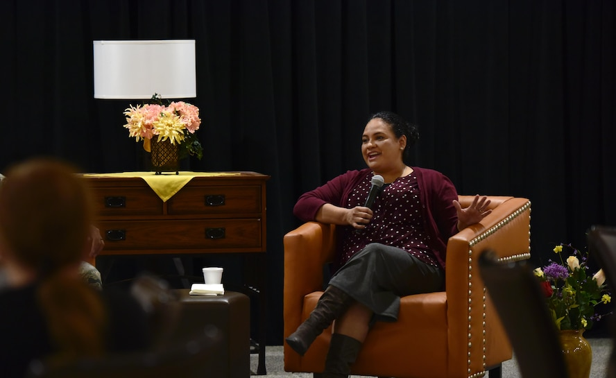 Maria Fussell, an education specialist assigned to the 509th Force Support Squadron, shares the personal trials she has had to overcome with members of Team Whiteman during the Storytellers event at Whiteman Air Force Base, Mo., Nov. 15, 2017.