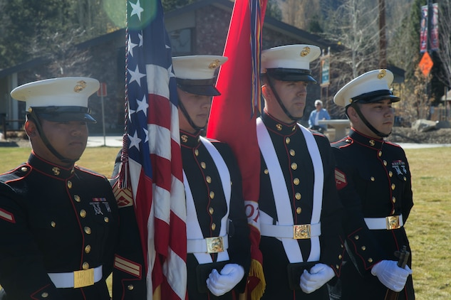 The Marine Corps Logistics Base Barstow Color Guard serve as the color guard for a Veterans Day ceremony at Big Bear Lake, Calif., Nov. 11, 2017. Military color guards are an integral part to traditional military ceremonies. (U.S. Marine Corps photo by Lance Cpl. Preston L. Morris)