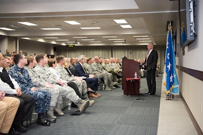 Defense Secretary Jim Mattis speaks during a town hall at U.S. Northern Command in Colorado Springs, Colorado.