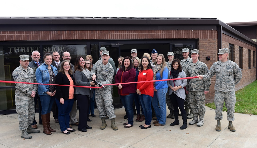 Members of Team Whiteman gather to support the grand opening of the base thrift shop at Whiteman Air Force Base, Mo., Nov. 13, 2017.