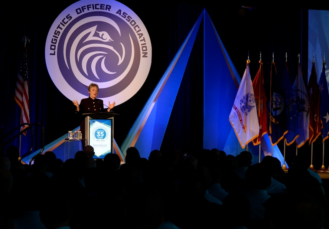 Secretary of the Air Force Heather Wilson delivers the keynote address during the 2017 Logistics Officer Association Symposium in Washington D.C., Nov. 17, 2017. During her remarks Wilson discussed how logistics and innovation contribute to the success of the Air Force. (U.S. Air Force photo by Staff Sgt. Rusty Frank)