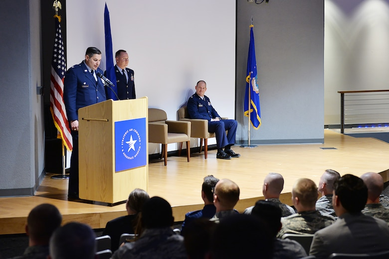 Col. John McKaye, 655th Intelligence, Surveillance, and Reconnaissance Group commander, speaks to members of the 820th Intelligence Squadron during the unit's official activation and assumption of command ceremony November 4, 2017.