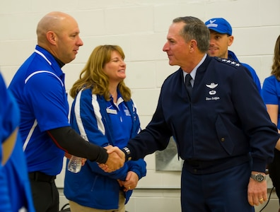 CSAF shakes hand with Wounded Warrior