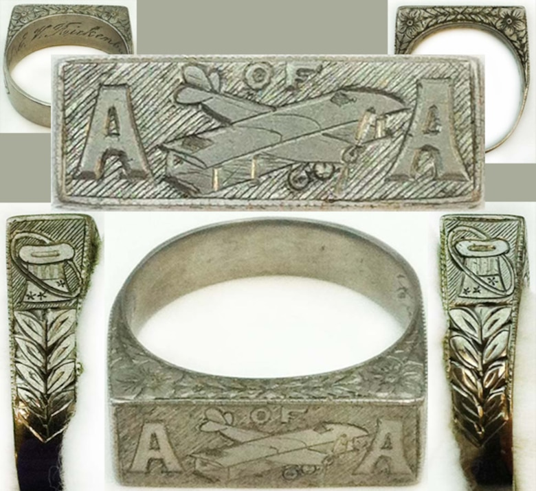 "This ring reads ""A OF A.""  Captain E.V. Rickenbacker was called America's Ace of Aces, due to his accruing the highest number of American aerial victories against the Germans during World War I— 26.  
