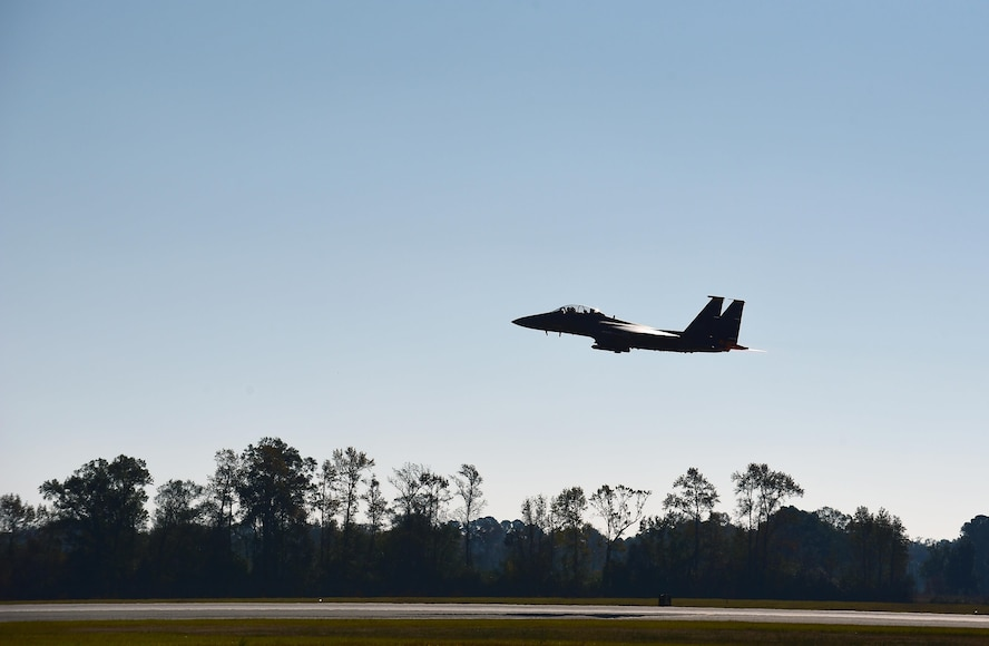 An F-15E Strike Eagle from the 335th Fighter Squadron, takes off during exercise Razor Talon, Nov. 17, 2017, at Seymour Johnson Air Force Base, North Carolina. Razor Talon takes place off the East Coast of North Carolina and simulates possible events in a deployed environment. (U.S. Air Force photo by Airman 1st Class Kenneth Boyton)