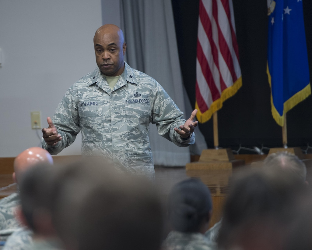PETERSON AIR FORCE BASE, Colo. – Brig. Gen. Trent Edwards, Air Force Space Command director of programming, financial management and comptroller, hosted the inaugural Air Force Space Command Comptroller Summit here, Oct. 12, 2017. The Summit's main objective was to provide Headquarters AFSPC and Comptroller Squadron Airmen an understanding of the missions throughout the command and the importance of the comptroller squadron to the success of those missions. (U.S. Air Force photo by Dave Grim)