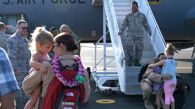 Airmen from the 203rd Air Refueling Squadron are greeted by family, friends, and fellow airmen upon returning home to Joint Base Pearl Harbor-Hickam, Hawaii.