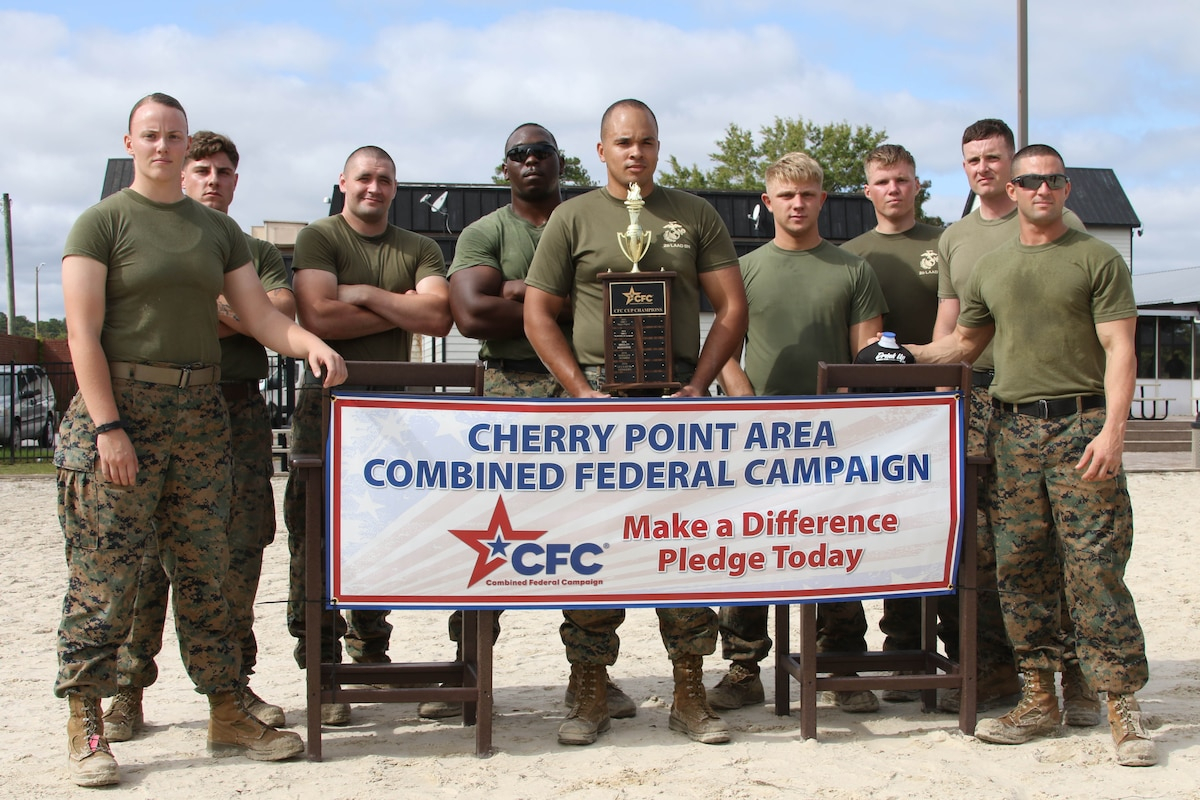 A group of Marines stand while displaying a CFC banner.