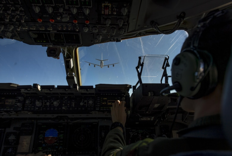 U.S. Air Force Maj. Chris Black, an instructor pilot with the 58th Airlift Squadron, prepares for an air refueling with a KC-135 Stratotanker during the Altus Quarterly Exercise (ALTEX), Nov. 16, 2017 at Altus Air Force Base, Okla.