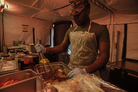 Marines with Food Service Company, II Marine Expeditionary Force Information Group, II MEF, participated in the W.P.T. Hill competition showcasing their capabilities within a training or deployed environment at Camp Lejeune, N.C., Nov. 15, 2017. The W.P.T. Hill award recognizes the best expeditionary dining facility in the entire Marine Corps for outstanding performance.