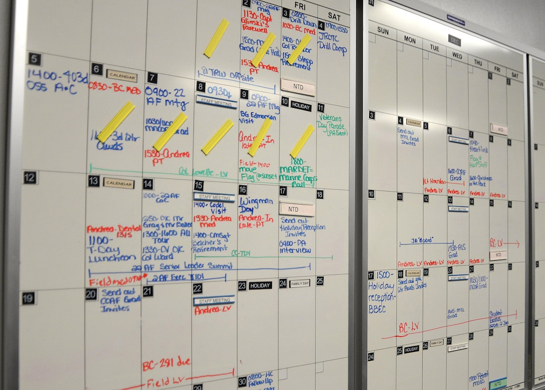 A whiteboard calendar sits on display at the 81st Training Wing Protocol Office Nov. 14, 2017, on Keesler Air Force Base, Mississippi. The protocol office uses the calendar for reminders of events, deadlines and other pertinent information. The Protocol Office is in charge of ensuring every ceremony on Keesler goes to plan according to Air Force standards. (U.S. Air Force photo by Airman 1st Class Suzanna Plotnikov)