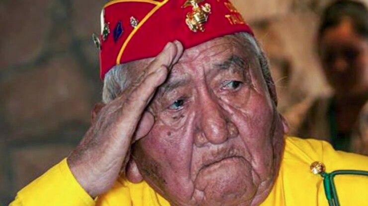 A veteran salutes.
