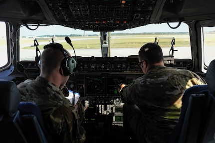 Maj. Benjamin Buxton, right, and 1st Lt. Casey Larson, left, 16th Airlift Squadron, 437th Airlift Wing pilots, perform preflight checks before a mission to support search and rescue operations in Argentina, Nov. 18, 2017. Joint Base Charleston's efforts are helping aid the search and rescue of the A.R.A. San Juan, an Argentine navy submarine that went missing Nov. 15, 2017. As part of the support, two C-17 Globemaster IIIs and one C-5M Super Galaxy from Air Mobility Command are delivering needed equipment and expertise to assist a partner nation. The first flight from Joint Base Charleston is carrying a tow bar, a Tunner 60K Aircraft Cargo Loader and three members of the 437th Aerial Port Squadron. While on the ground, the team will be conducting runway assessments prior to other equipment arriving in country. Additional U.S. Air Force support will be provided to aid efforts.