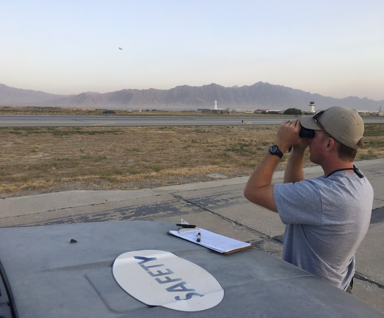 James Capps, 455th Air Expeditionary Wing U.S. Department of Agriculture (APHIS) and BASH forward operating base biologist, surveys the airfield Nov. 21, 2017 at Bagram Airfield, Afghanistan.