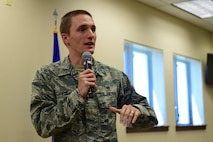 1st Lt. Brett Campbell, Buddhist chaplain at the 460th Space Wing, Buckley Air Force Base, Colorado.