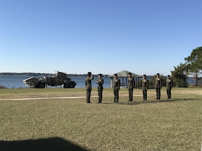 "On Friday November 17th, 2017 at Courthouse Bay, Camp Lejeune, N. C., Marines from Marine Corps Engineer School participate in the 'Passing of Old Glory' after the retirement ceremony for Master Sergeant Shawn W. Fowler. Starting with the junior-most rank, Marines from Private through Gunnery Sergeant pass a folded American flag to MSgt Fowler as ""I Am the Flag"" is read."