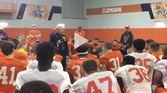 Brigadier General Austin E. Renforth provided proper Marine Corps motivation to the Clemson Team during military appreciation week.