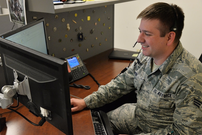 Senior Airman Jeffery Hofer, 341st Communications Squadron client support technician, speaks to a customer Nov. 13, 2017, at Malmstrom Air Force Base, Mont.