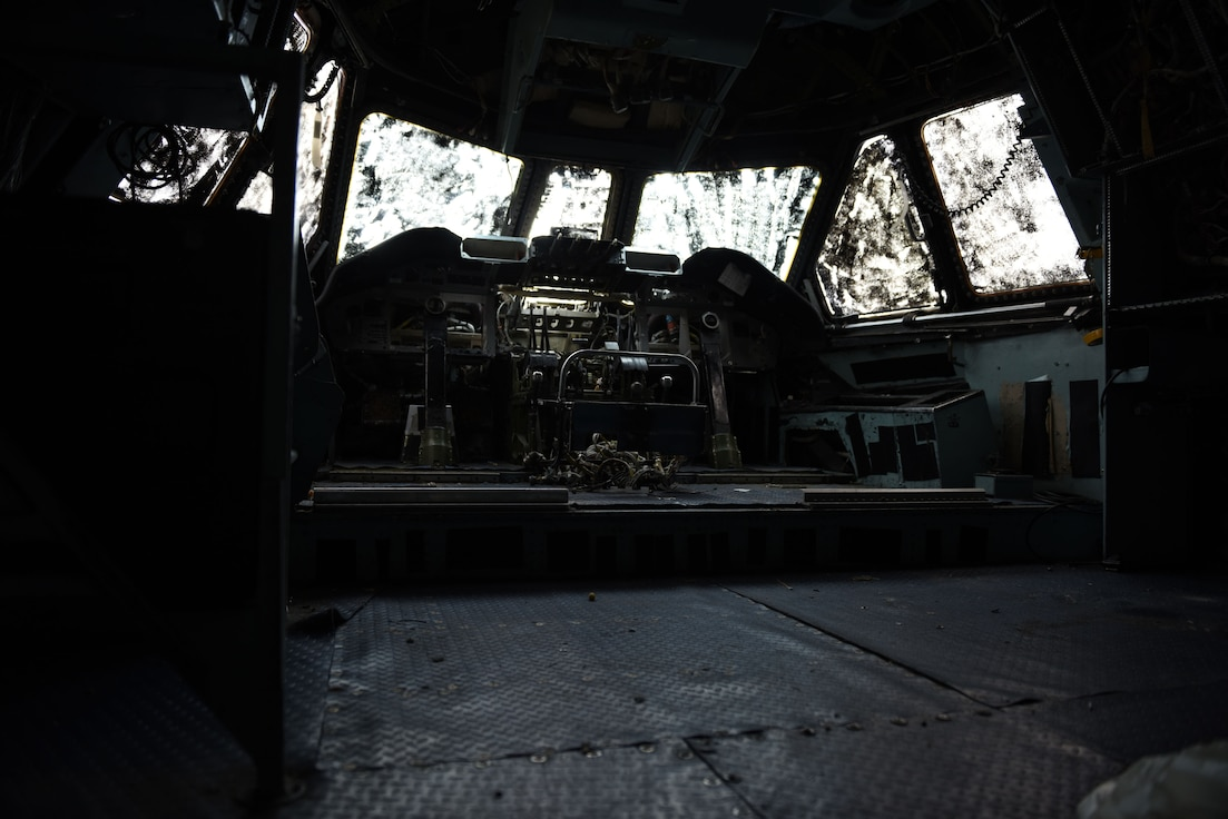 Photos in and around a C-141 Starlifter aircraft.