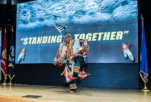 Chris Begay, a Native American dancer from the Dine' Nation, preformed at DSCC.