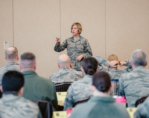 Command Chief Master Sgt. Amy Giaquinto, the senior enlisted advisor to the Adjutant General of New York, speaks to members of the 107th Attack Wing in Niagara Falls, N.Y. on Oct. 17, 2017. Giaqunito is the first woman and the first Air National Guard member to hold that role in New York. (U.S. Air National Guard photo by Staff Sgt. Ryan Campbell)