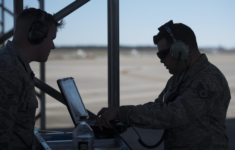 U.S. Air Force Staff Sgt. Jon Peek, 58th Aircraft Maintenance Unit crew chief, reviews a checklist on his portable maintenance aid Nov. 14, 2017, at Eglin Air Force Base, Fla.  The 33 FW supported Checkered Flag 18-1, a large scale air-to-air only exercise that emphasizes the execution and production of tactics between fourth and fifth generation aircraft. In the past, the 33rd Fighter Wing deployed F-35As Lightning II to Tyndall afb to support the exercise. This year, supporting from home lessoned the strain on maintenance operations while allowing the wing's training mission to continue simultaneously. (U.S. Air Force photo by Staff Sgt. Peter Thompson/Released)