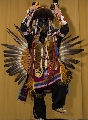 Isaac Cardenas, a member of the American Indians in Texas Dance Theater group, performs a traditional Native American dance at the National American Indian Heritage Month Observance Nov. 16 at the U.S. Army Medical Department Center and School, located at Joint Base San Antonio-Fort Sam Houston.